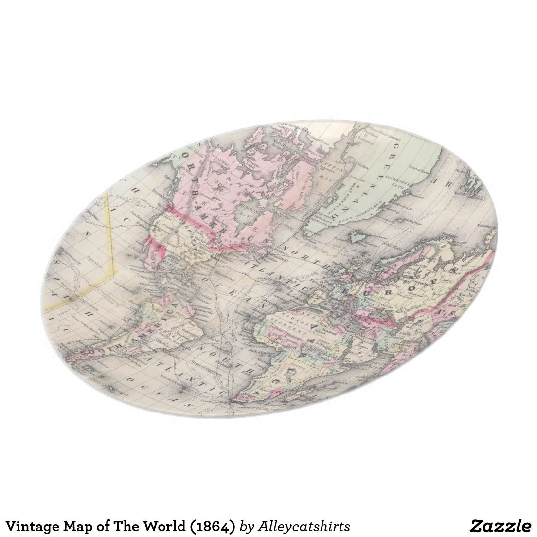 1104x1104 Vintage Map Of The World (1864) Dinner Plate World, The World
