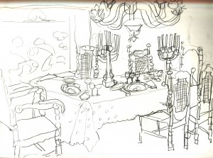 300x223 Dinner Table Drawing