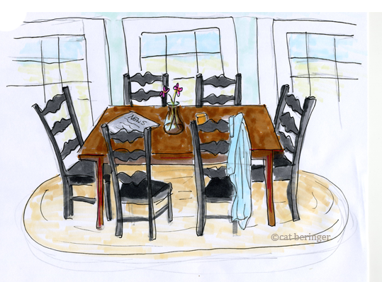 539x398 Dinner Table Drawing