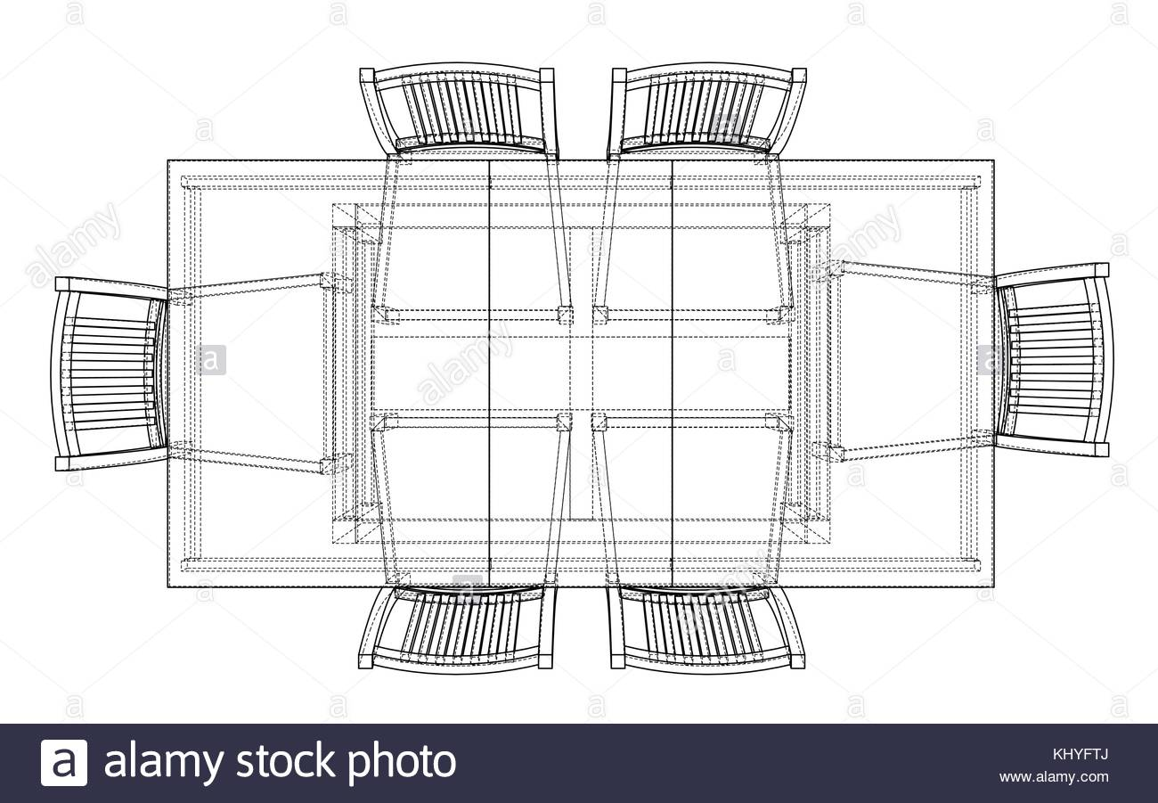 1300x901 Dinner Table With Chairs. Vector Rendering Of 3d Stock Vector Art