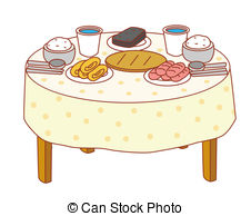 226x194 Illustration Drawing Of A Dining Table With Tablecloth In Stock