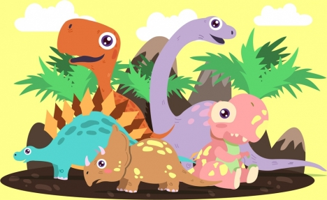 468x287 Dinosaur Icons Colored Colored Cartoon Vectors Stock For Free