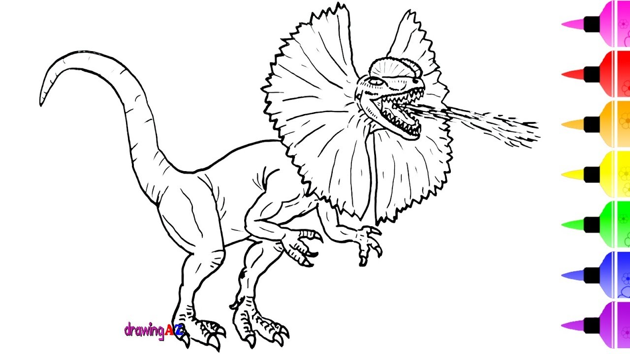 1280x720 Dinosaur Drawing And Coloring Page For Kids Amp Shark Coloring Page