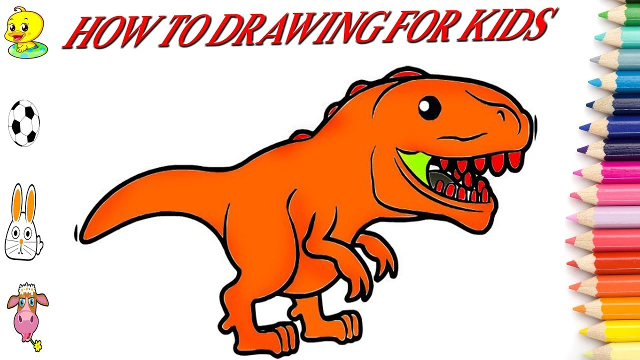 1280x720 Dinosaur Drawing Book Art Step By Step Color Orange Coloring Book