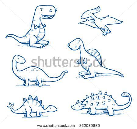 450x424 Cute Little Cartoon Dinosaurs For Children, Hand Drawn Vector