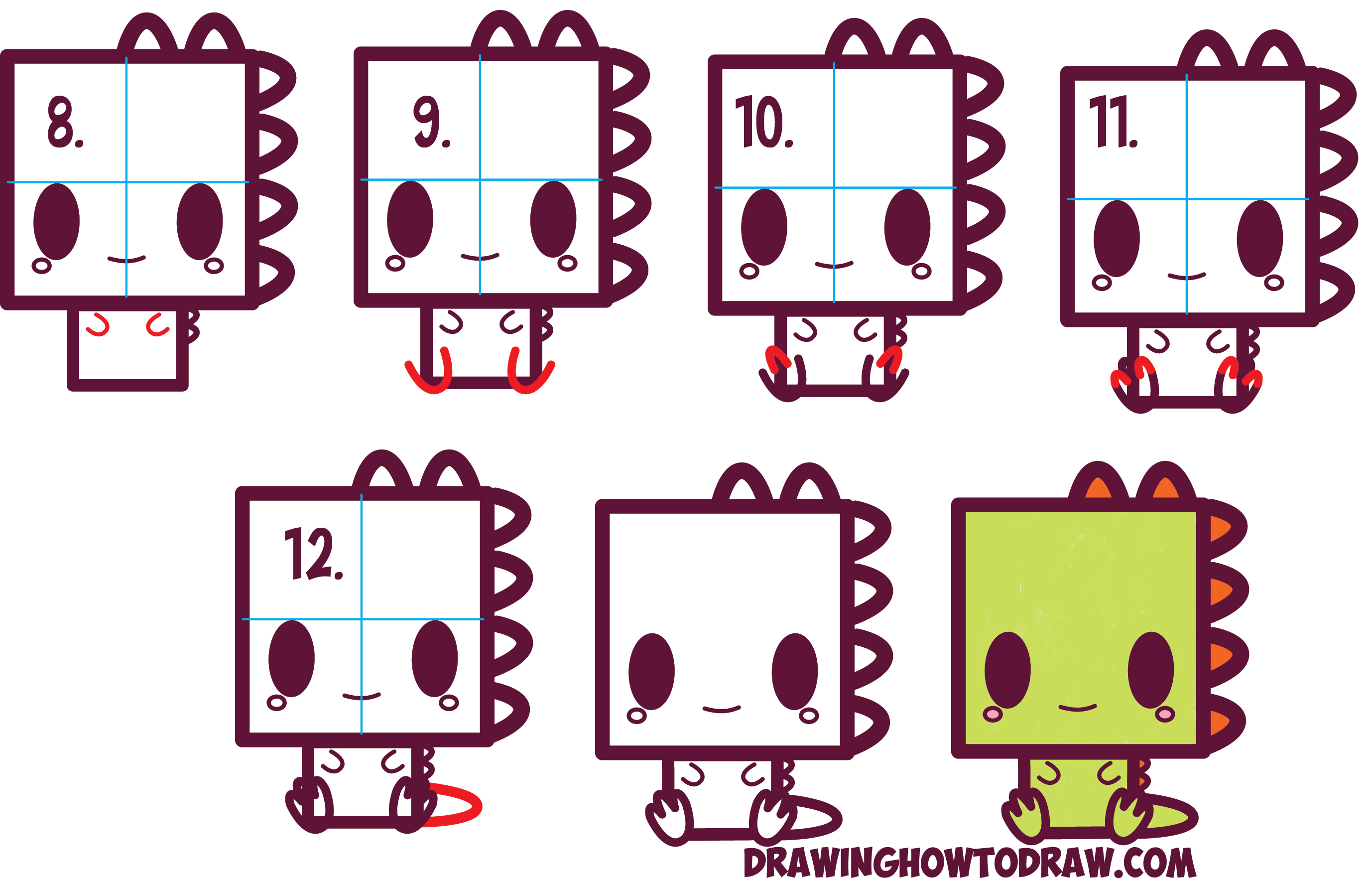 2755x1772 How To Draw Cute Kawaii Cartoon Baby Dinosaur From Squares