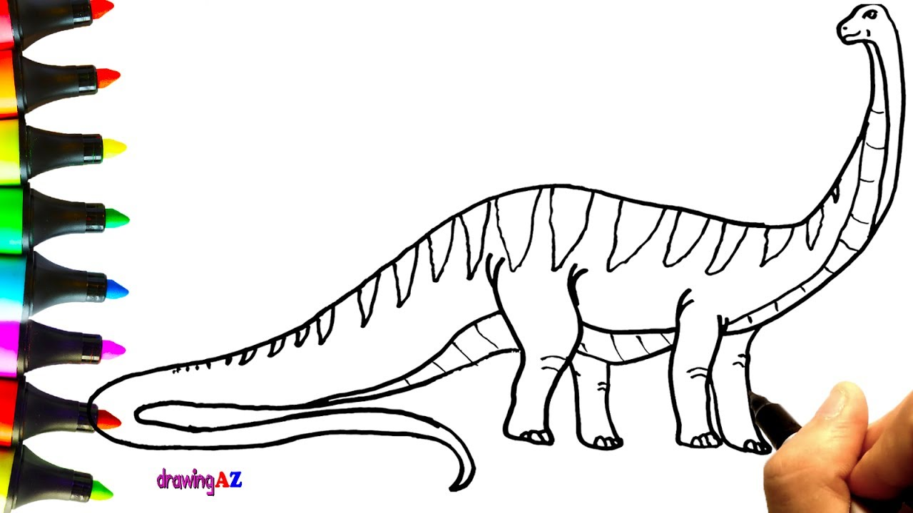 1280x720 How To Draw Bruhathkayosaurus Dinosaur Coloring Pages For Kids