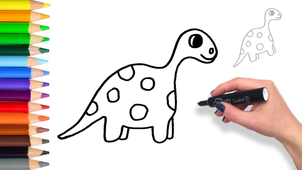 1280x720 Learn How To Draw A Dinosaur Teach Drawing For Kids And Toddlers