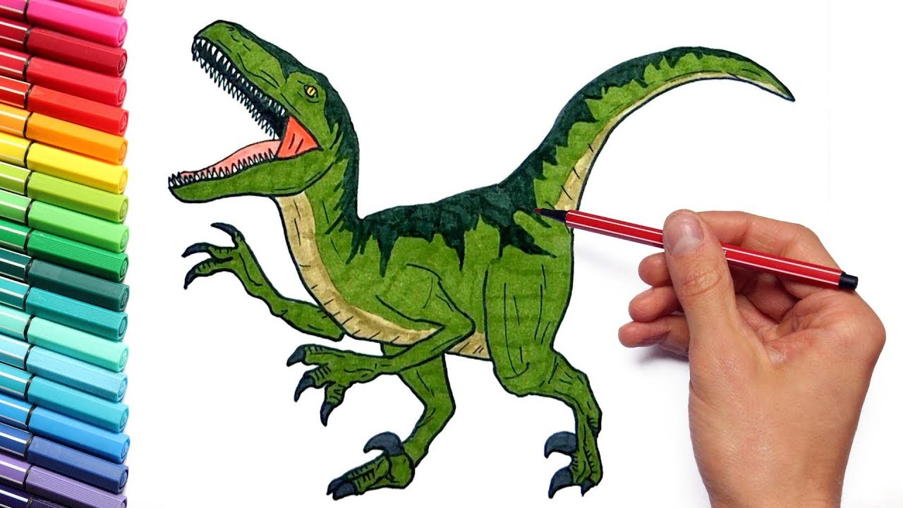 1280x720 Drawing And Coloring Dinosaurs Color Pages For Childrens Learning