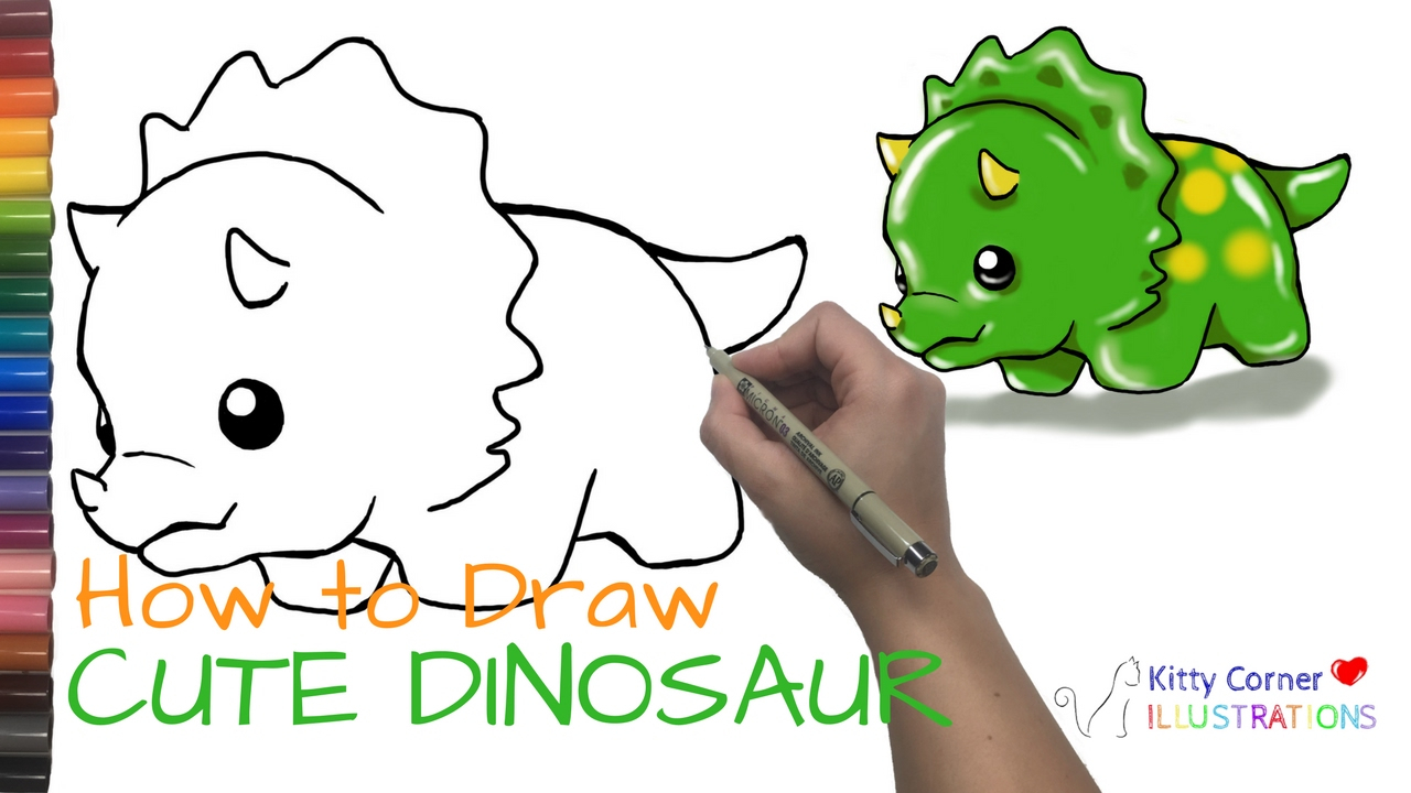 how to draw cute cartoon dinosaurs