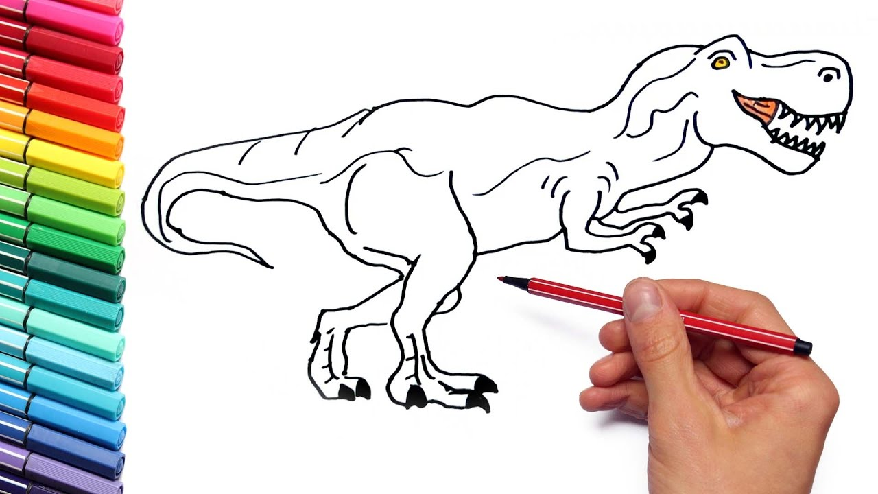 1280x720 How To Draw T Rex For Kids