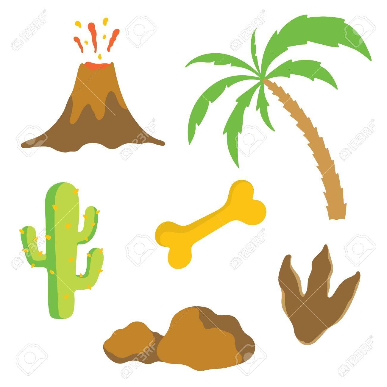 1300x1300 Dinosaur Footprint, Volcano, Palm Tree, Stones, Bone And Cactus