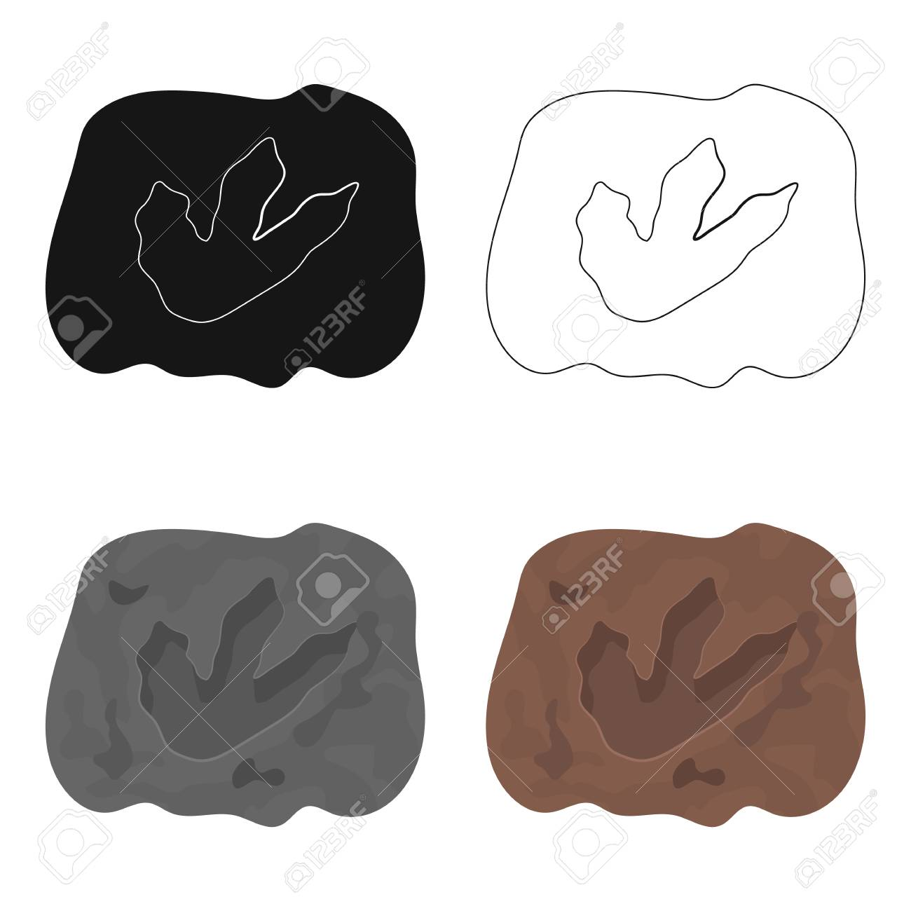 1300x1300 Rock With Dinosaur Footprint Icon In Cartoon Design Isolated
