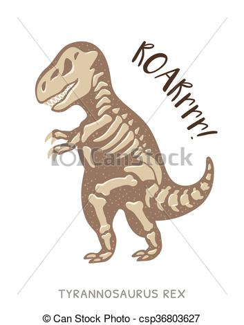 353x470 Cartoon Tyrannosaurus Rex Dinosaur Fossil. Vector Vector