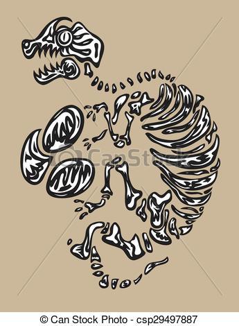345x470 Dinosaur Fossil, Art Vector Design Vector