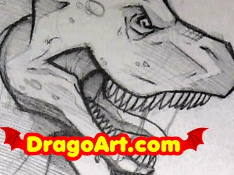 480x360 How To Draw A Dinosaur, Sketching A T Rex, Step By Step