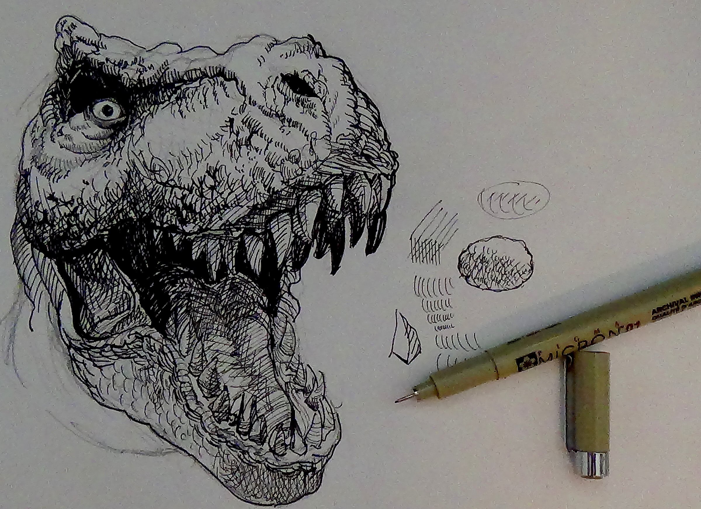 2400x1743 Pen And Ink Drawing Tutorials How To Draw A T Rex Dinosaur