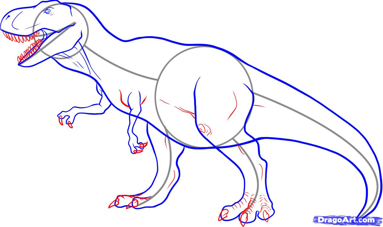 1294x770 How To Draw A Tyrannosaurus Rex, Step By Step, Dinosaurs, Animals