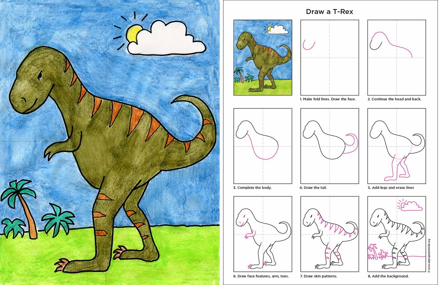 1500x974 Art Projects For Kids How To Draw A T Rex.