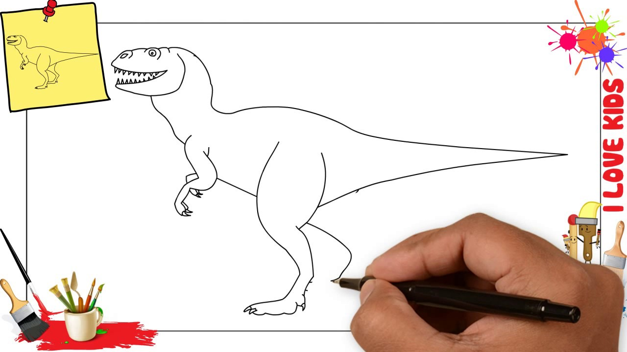 1280x720 How To Draw A Dinosaur Easy Amp Simple Step By Step For Kids