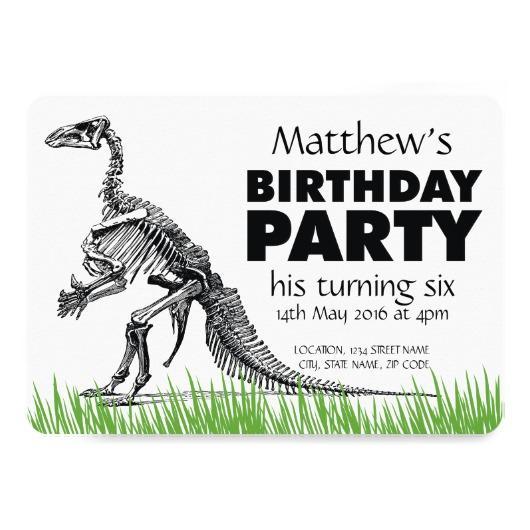 530x530 Dinosaur Skeleton Drawing Grass Birthday Party Paper