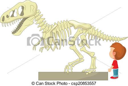 450x304 Vector Illustration Of Boy With Dinosaur Skeleton