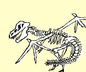 300x250 Winged Dinosaur Skeleton Falling