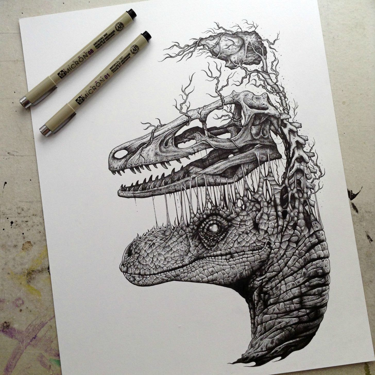 1456x1456 Raptor Skull And Brain Drawing Art Direction Brain