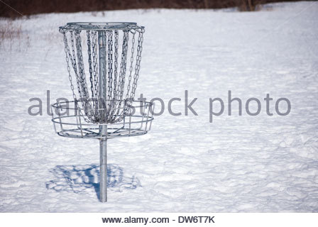 448x320 Disc Golf Basket In Winter, Symmetrical Background Stock Photo