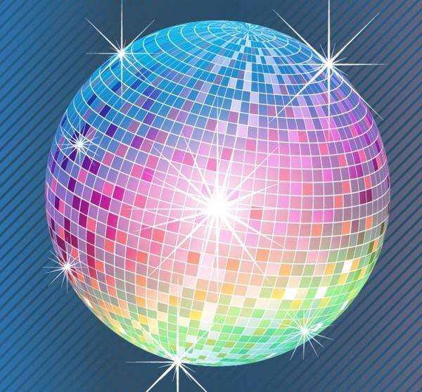 600x557 Bright Disco Ball Realistic Vector Illustration Free Vector