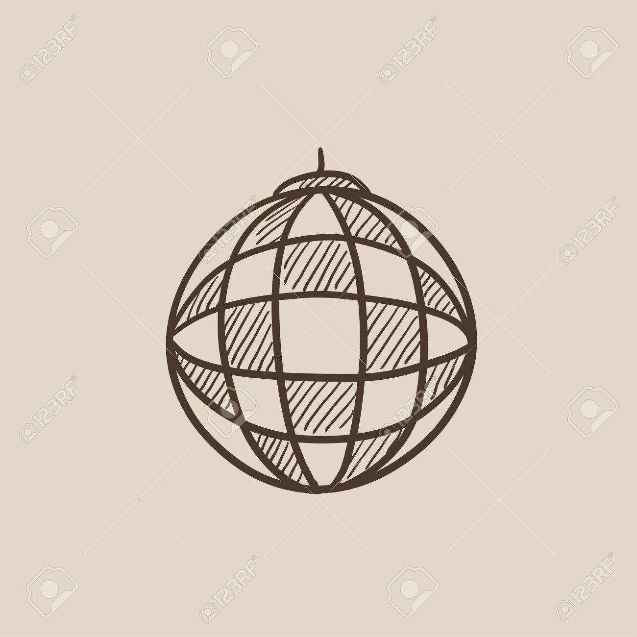 1300x1300 Disco Ball Sketch Icon For Web, Mobile And Infographics. Hand