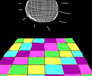 300x250 Empty Disco Room With Shining Disco Ball