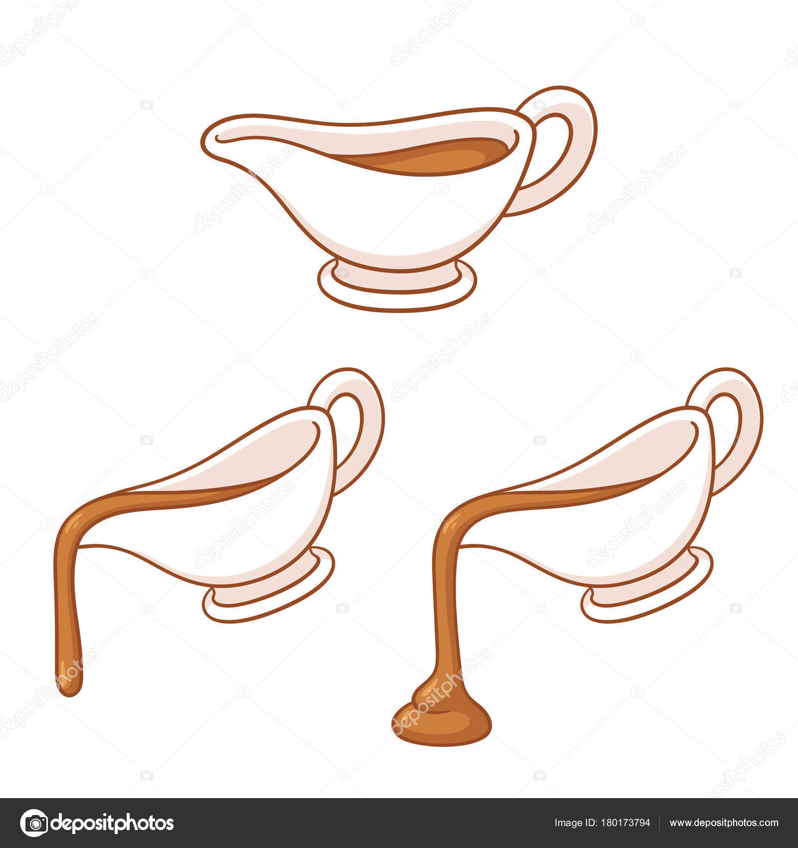 1600x1700 Gravy Boat Drawing Set Sauce Dish Pouring Hot Meat Gravy Stock
