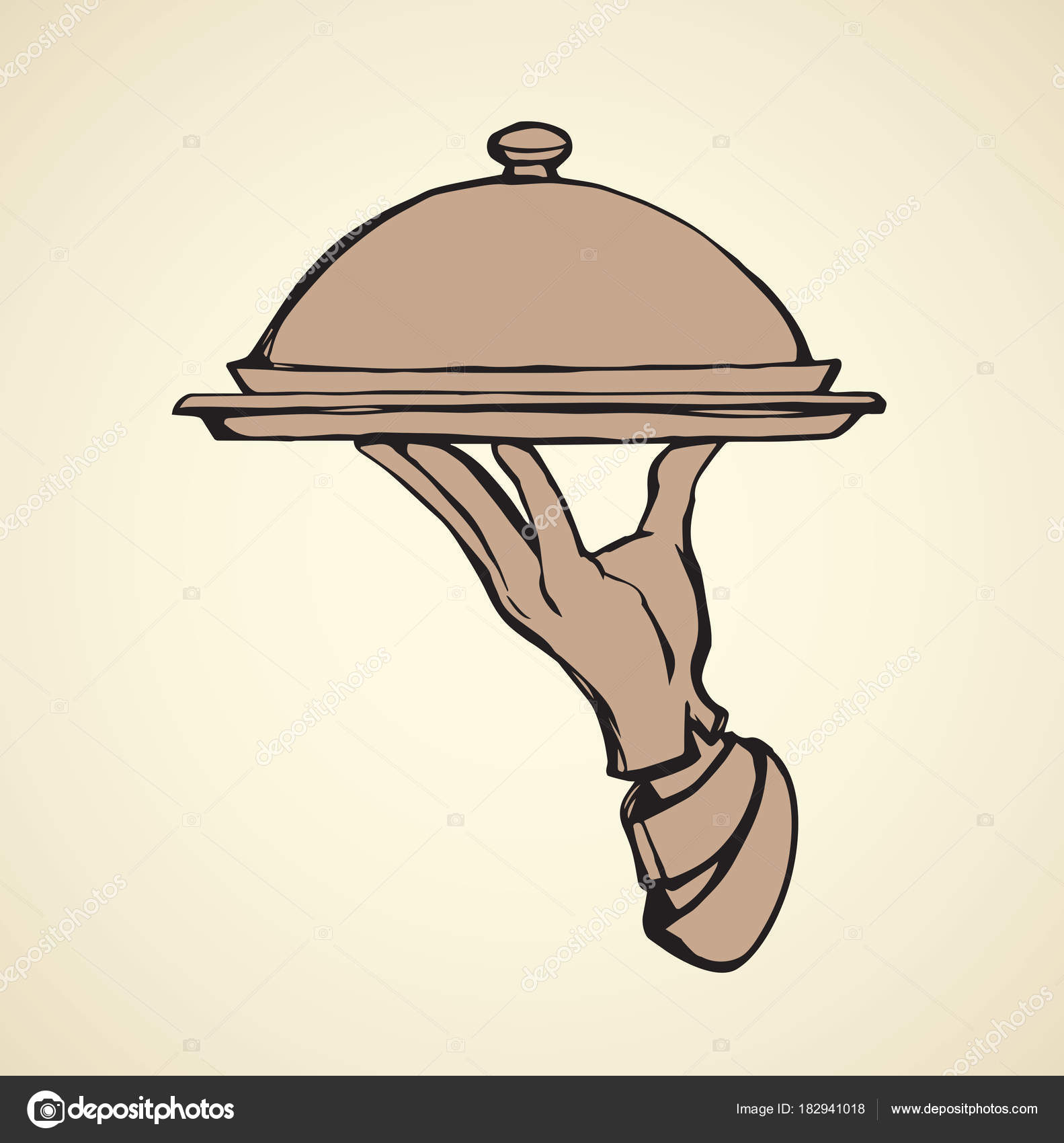 1583x1700 Hand Of Waiter With Dish. Vector Drawing Stock Vector Marinka