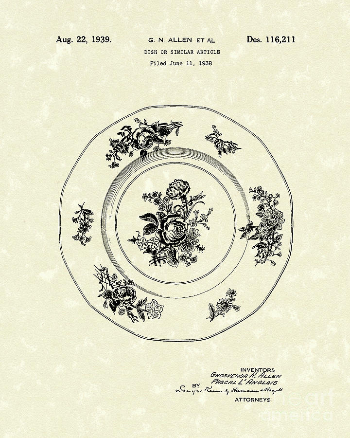 720x900 Serving Dish 1939 Patent Art Drawing By Prior Art Design