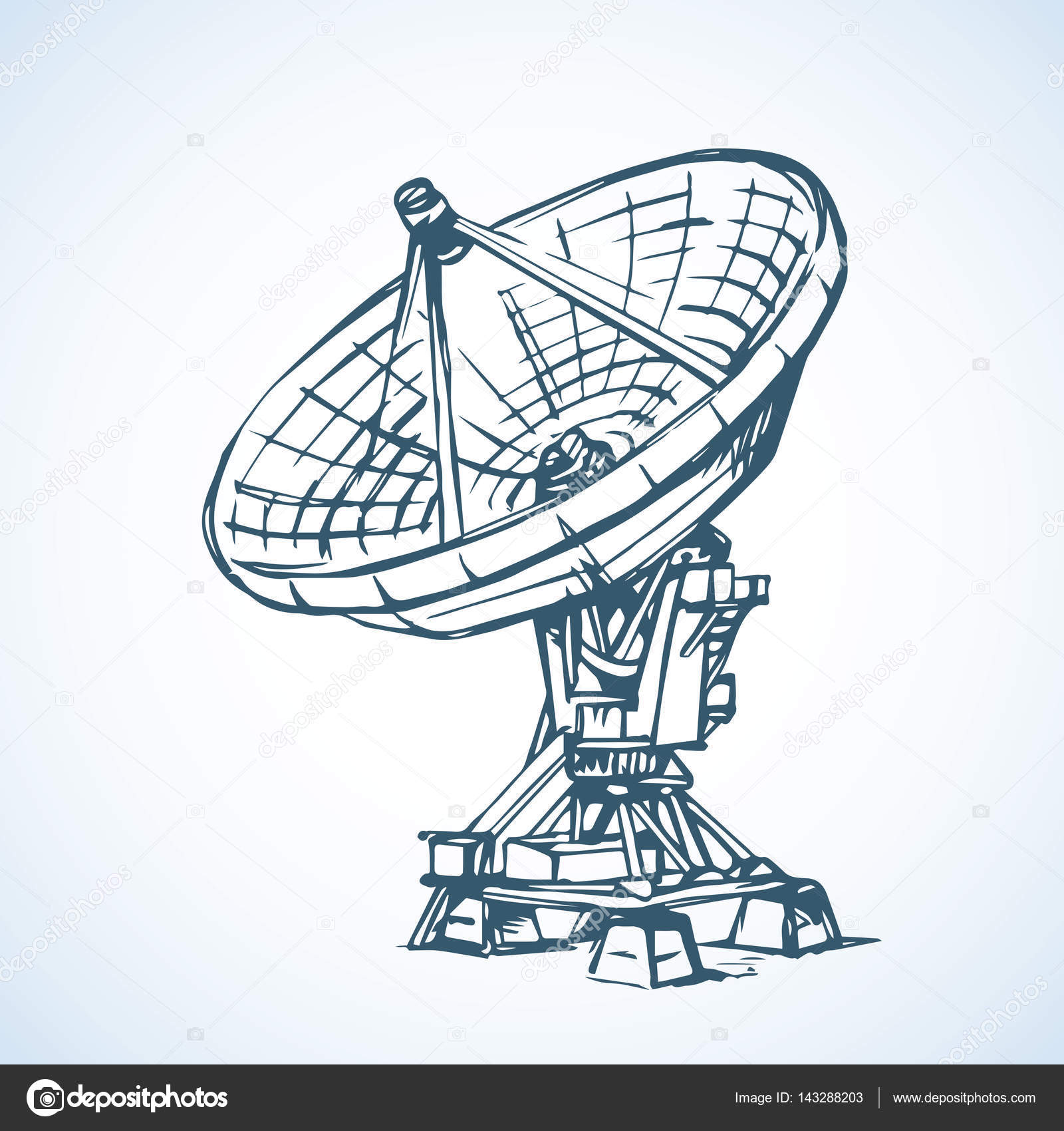 1600x1700 Vector Drawing. Dish Antenna Stock Vector Marinka