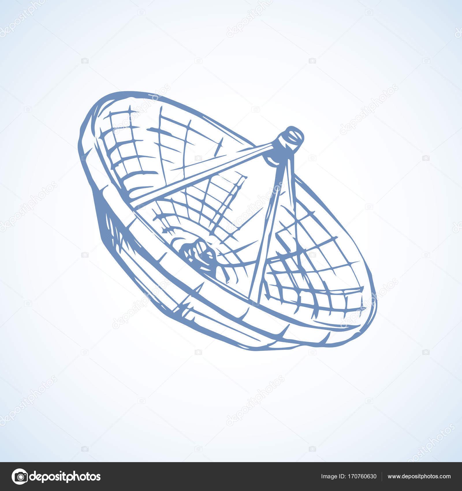 1600x1700 Vector Drawing. Dish Antenna Stock Vector Marinka