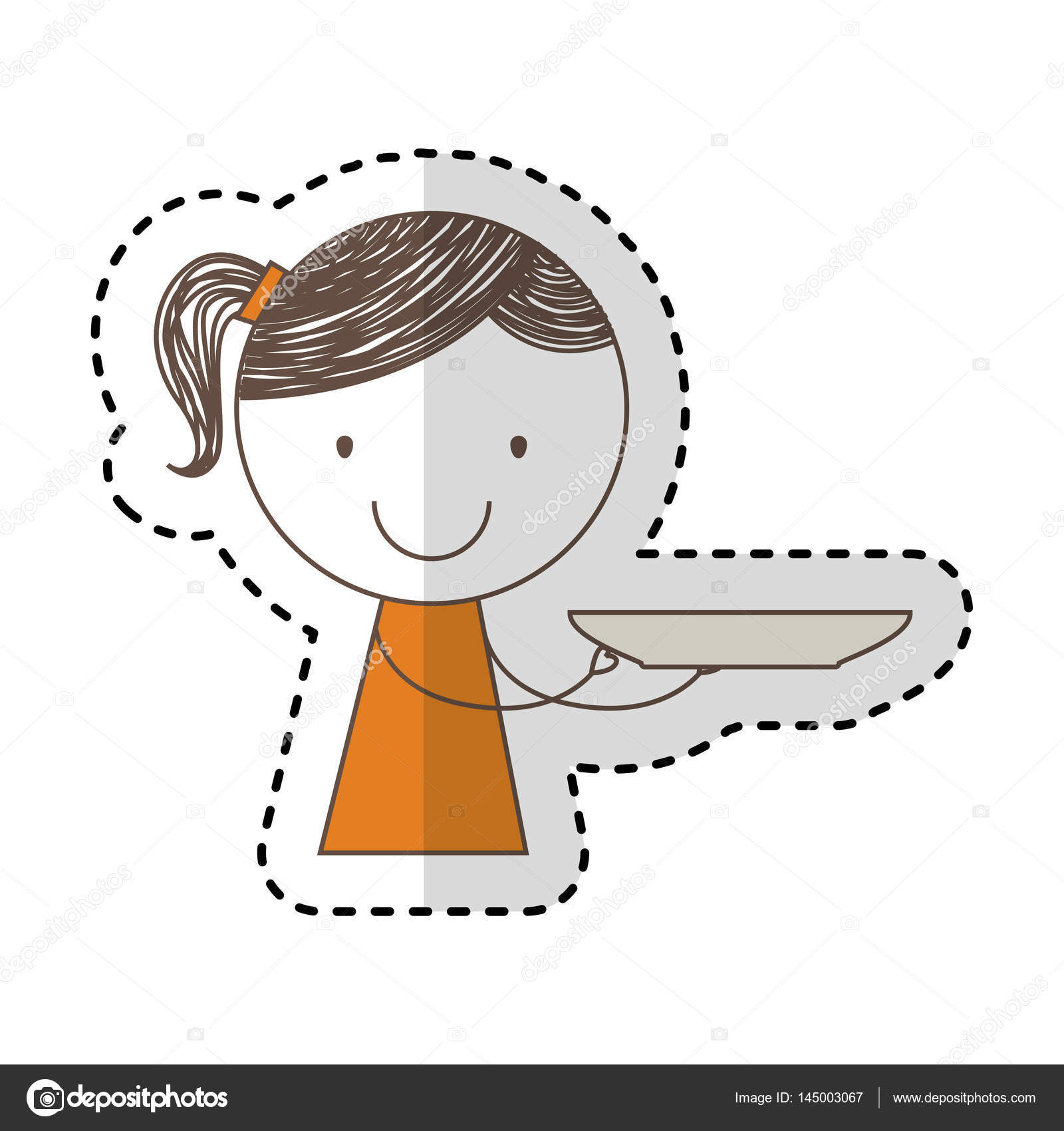 1600x1700 Cute Little Girl Drawing Character With Dish Stock Vector