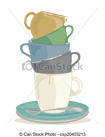 360x470 Dirty Dishes. An Illustration Of A Stack Of Dirty Crockery