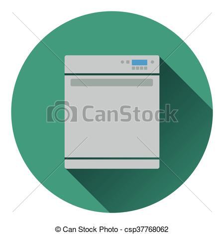 450x470 Kitchen Dishwasher Machine Icon. Flat Design. Vector Clip Art