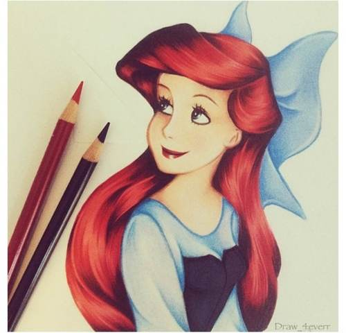 500x480 This Is A Sketched Picture Of A Disney Princess Named Ariel