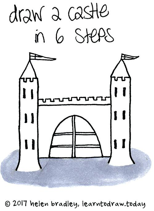 500x687 Castle Drawing Easy Disney Castle Drawing Step Step