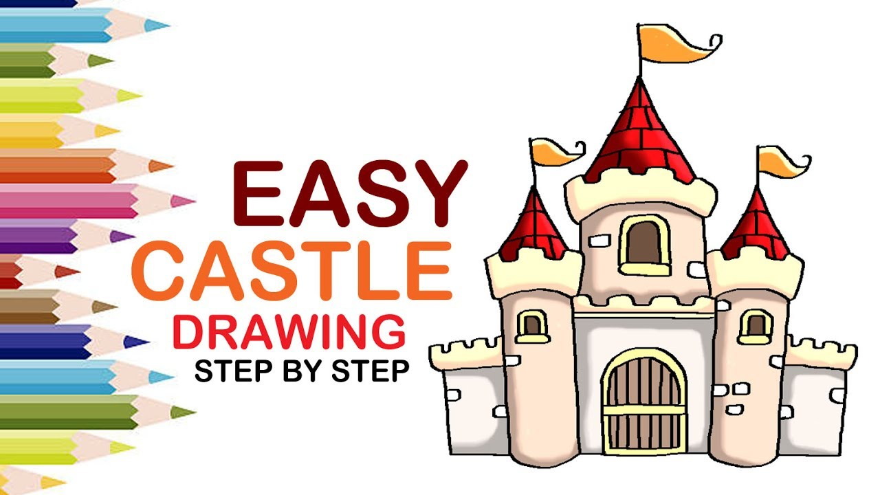 1280x720 How To Draw A Castle For Kids Step By Step