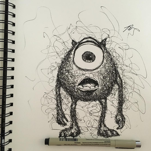 600x601 Artist Creates Beautiful And Accurate Scribble Drawings Of Disney