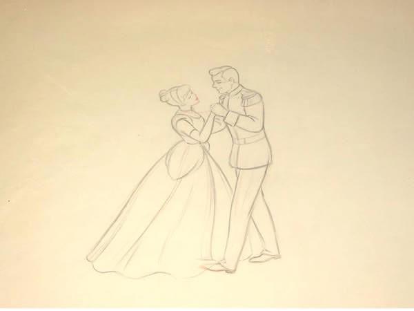 600x450 Original Walt Disney Production Drawing From Cinderella Featuring