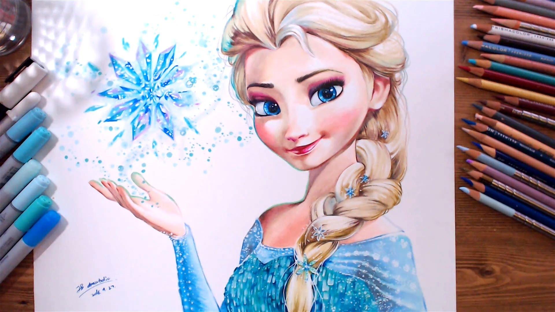 1920x1080 Drawing Elsa (Frozen) Drawholic
