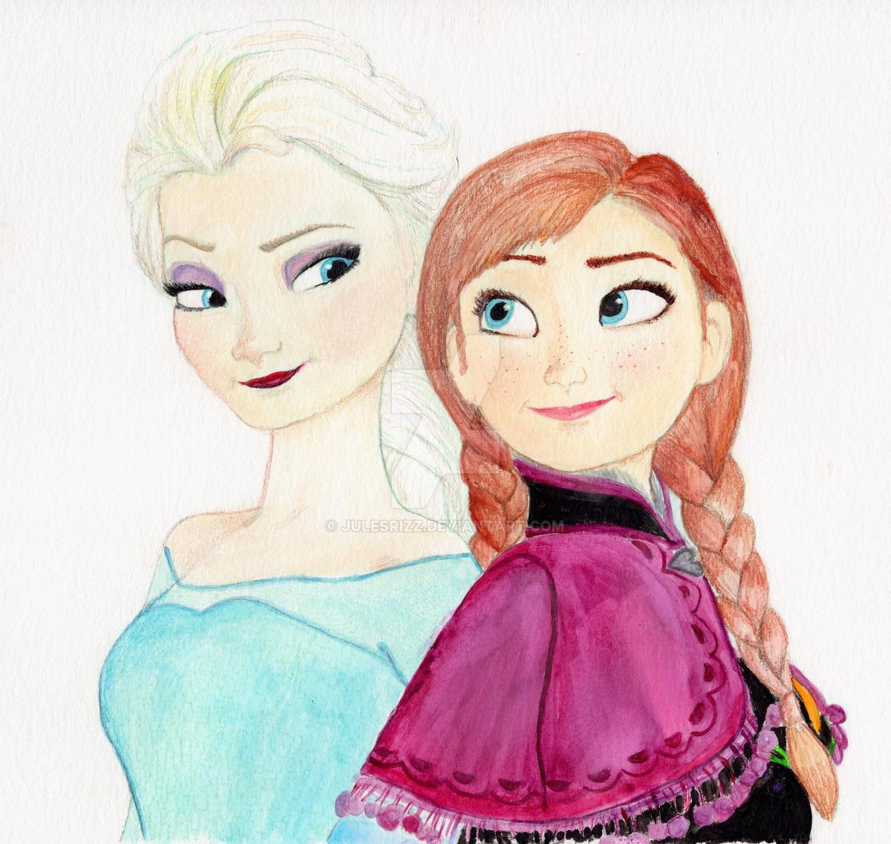1280x1213 Elsa And Anna Disney's Frozen By Julesrizz