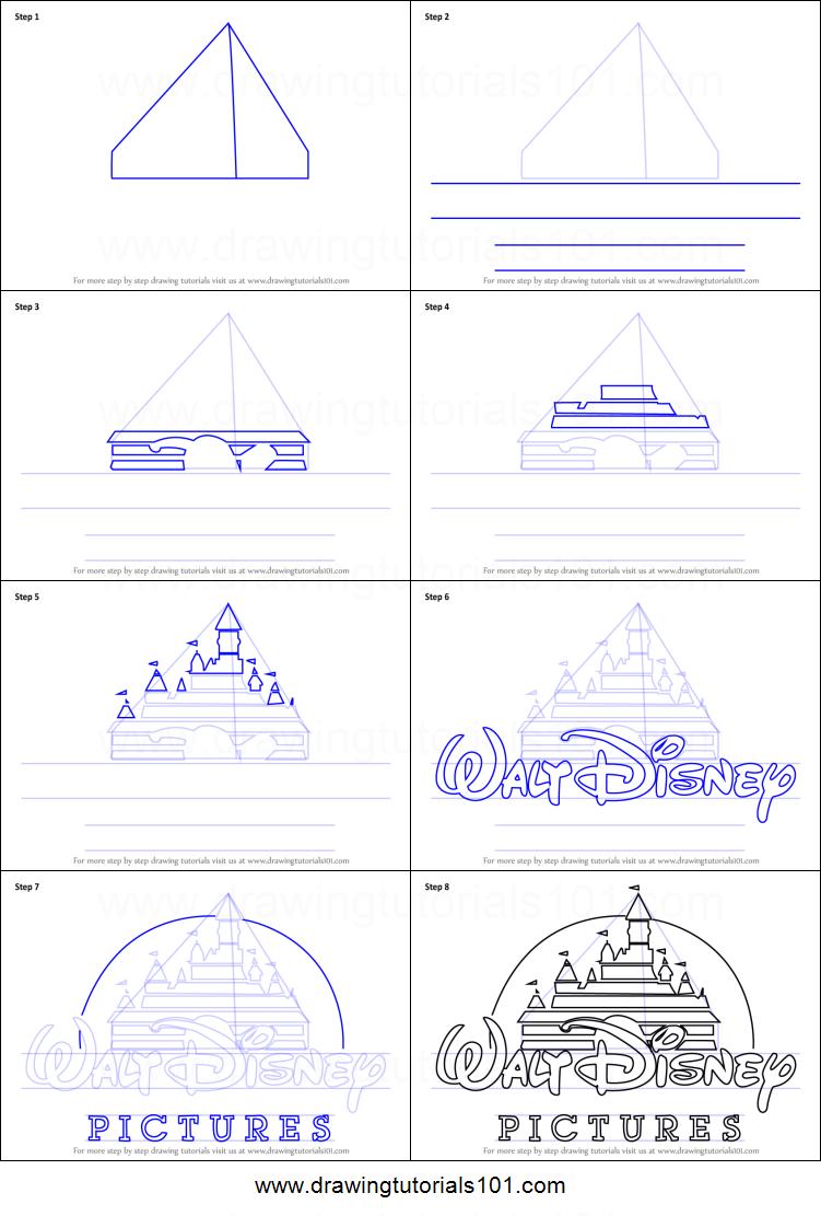 751x1111 How To Draw Walt Disney Logo Printable Step By Step Drawing Sheet