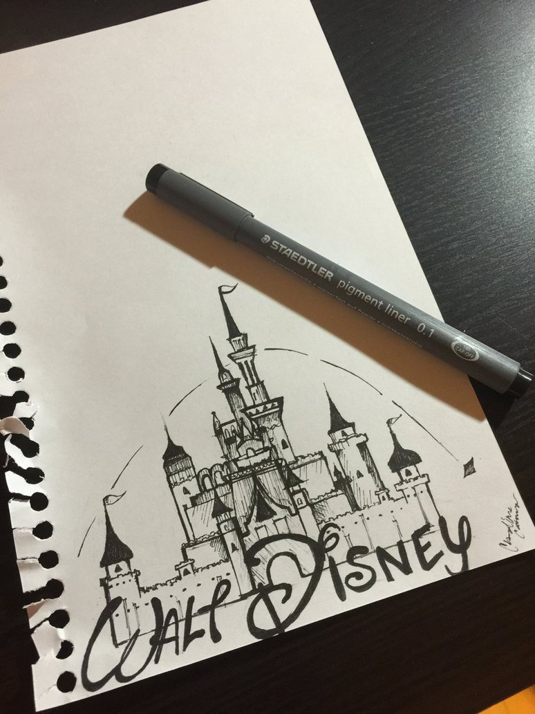 774x1032 Walt Disney Logo Sketch By Claudinecreates