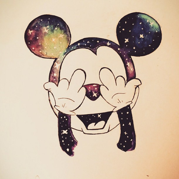 610x610 Cute, Disney, Drawing, Galaxy, Happy, Hipster, Love, Mickey Mouse